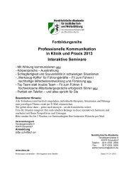 Professionelle Kommunikation in Klinik und Praxis 2013 Interaktive Seminare