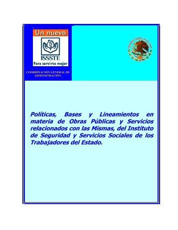 Políticas, Bases y Lineamientos en materia de Obras Públicas y ...