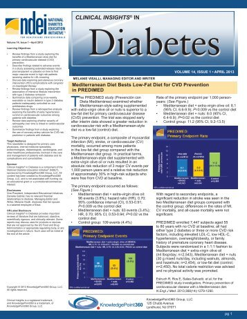 Clinical Insights April 2013 - National Diabetes Education Initiative