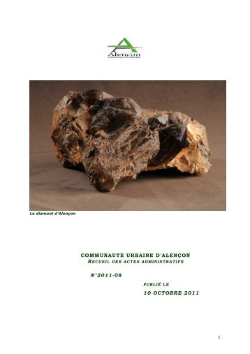COMMUNAUTE URBAINE D'ALENÇON RECUEIL N°2011-08 10 OCTOBRE 2011