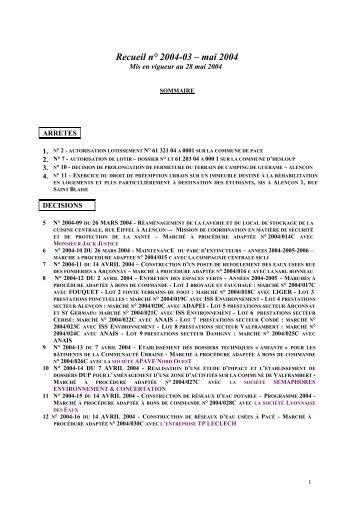Recueil n° 2004-03 – mai 2004