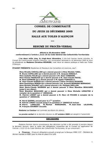 pv conseil cua 22 decembre 2005 - Communauté urbaine d'Alençon