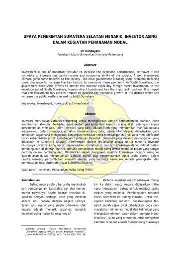 Upaya Pemerintah Sumatera Selatan Menarik ... - Fakultas Hukum