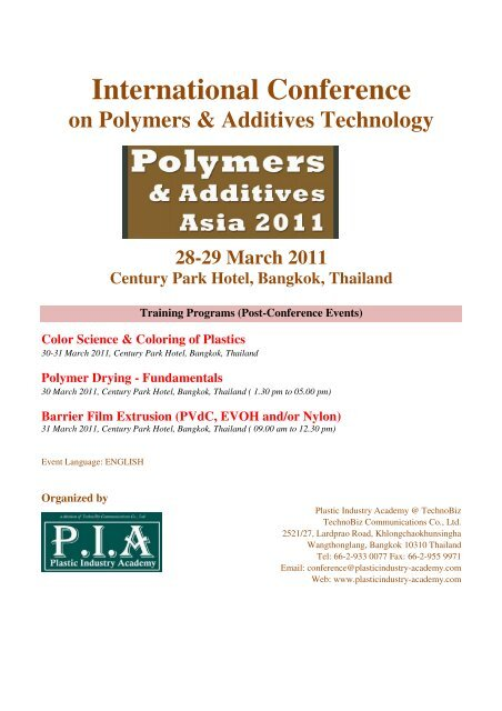 Polymers & Additives Asia 2011 F - Plastic Industry Academy