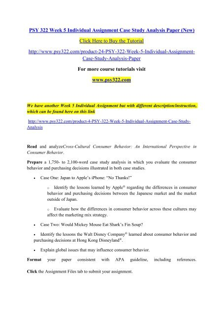 PSY 322 Week 5 Individual Assignment Case Study Analysis Paper (New)
