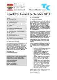 Newsletter Ausland September 2012 - Techniker Krankenkasse