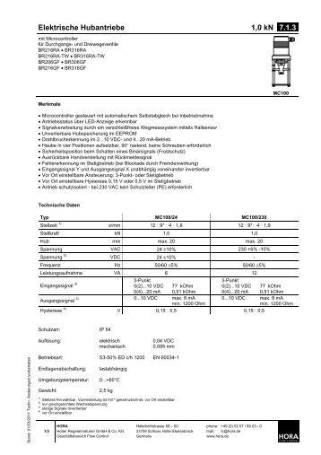 Elektrische Hubantriebe 1,0 kN 7.1.3. - HORA