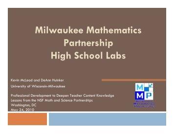 Milwaukee Mathematics Partnership High School Labs