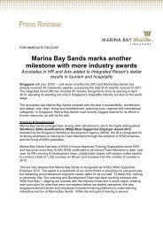 Marina Bay Sands marks another milestone with more industry awards