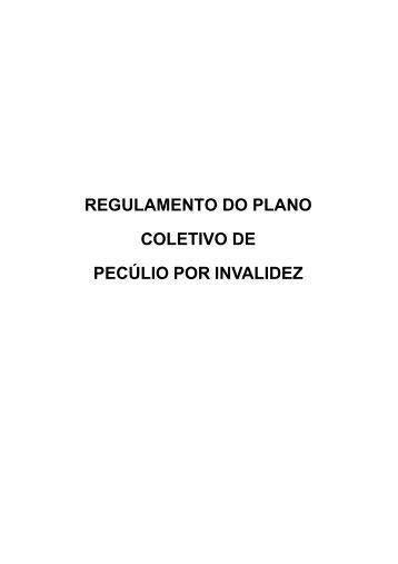REGULAMENTO DO PLANO COLETIVO DE PECÚLIO POR INVALIDEZ