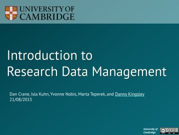 Introduction to Research Data Management