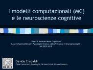 I modelli computazionali (MC) e le neuroscienze cognitive