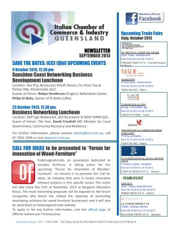 NEWSLETTER SAVE THE DATES: ICCI (Qld) UPCOMING EVENTS ...