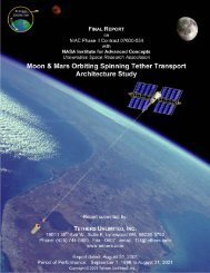 Moon & Mars Orbiting Spinning Tether Transport - Tethers Unlimited