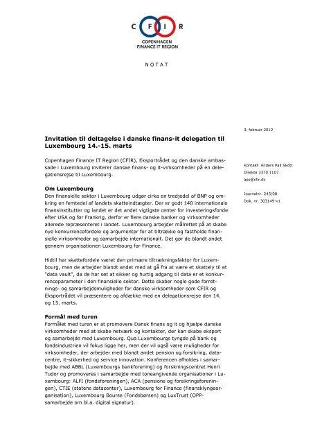 Invitation til deltagelse i danske finans-it delegation til ... - DI ITEK