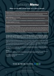 Restaurant Menu - The Bower Hotel