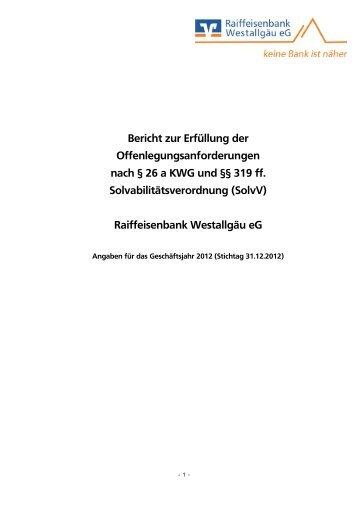 Bericht zur Erfüllung der Offenlegungsanforderungen nach § 26 a ...