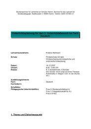 Unterrichtsplanung für den 3 Unterrichtsbesuch im Fach Deutsch