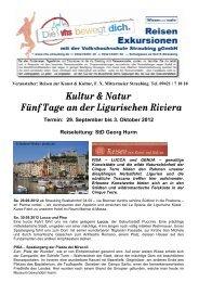 Kultur & Natur Fünf Tage an der Ligurischen Riviera Termin