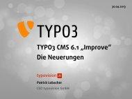 """TYPO3 CMS 6.1 """"Improve"""" Die Neuerungen"""