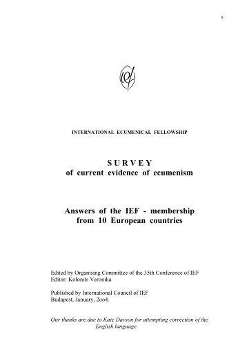 S U R V E Y of current evidence of ecumenism ... - ARGE Oekumene