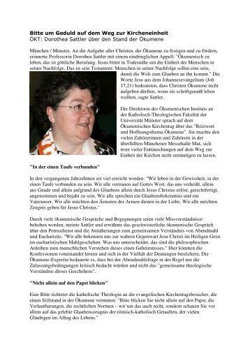 zum Bericht von Dorothea Sattler (PDF 84kB) - ARGE Oekumene