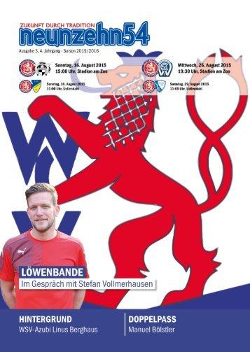 neunzehn54, Doppelausgabe  VfB Hilden - SC Düsseldorf-West. Heft 1, Saison 2015/16