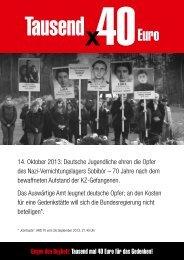 Gegen den Boykott:Tausend mal 40 Euro für das Gedenken!