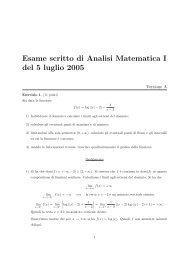 Esame scritto di Analisi Matematica I del 5 luglio 2005