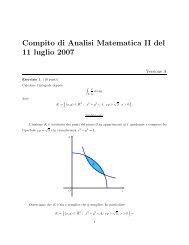 Compito di Analisi Matematica II del 11 luglio 2007