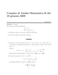 Compito di Analisi Matematica II del 19 gennaio 2009