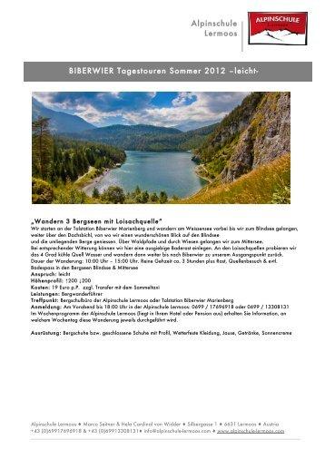 Geführte Wanderungen Alpinschule - Biberwier