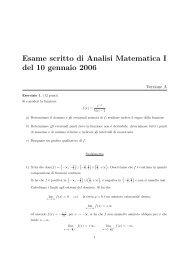 Esame scritto di Analisi Matematica I del 10 gennaio 2006