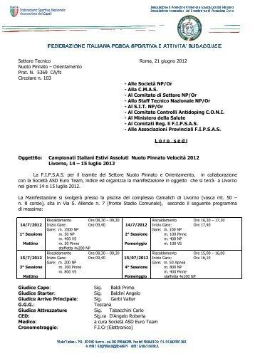 Circolare Campionati Italiani Estivi Assoluti di ... - NuotoPinnato.it