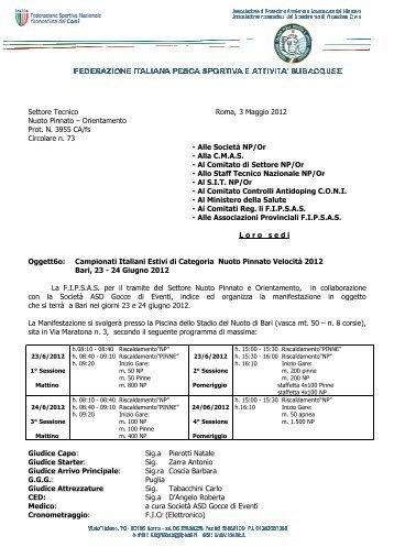 Circolare Campionati Italiani Estivi di Categoria 2012 - Fipsas