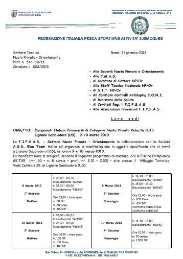 Circolare Campionati Italiani Primaverili di Categoria 2013 - Fipsas