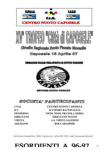 XV Trofeo - Città di Caposele -15.04.07 - NuotoPinnato.it