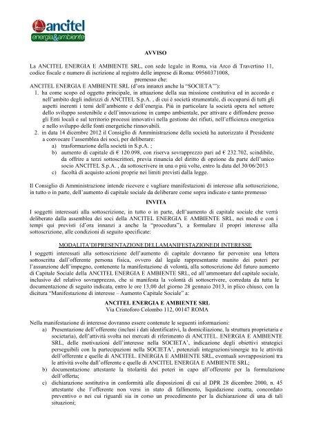 AVVISO La ANCITEL ENERGIA E AMBIENTE SRL     - Ancitel S p A