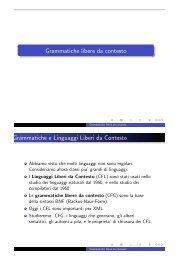 Grammatiche e Linguaggi Liberi da Contesto
