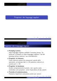 Proprieta' dei linguaggi regolari Proprieta' dei Linguaggi regolari