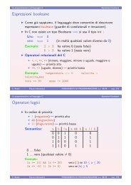 Espressioni booleane Operatori logici