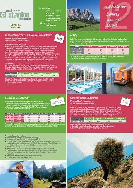frühling sommer herbst specials&preise - Hotel St.Anton