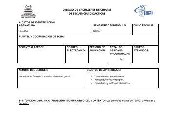 COLEGIO DE BACHILLERES DE CHIAPAS DE SECUENCIAS DIDÁCTICAS