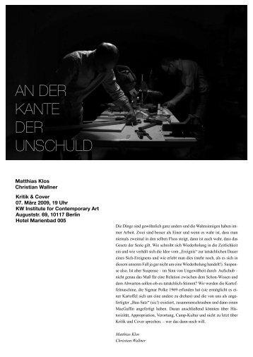 AN DER KANTE DER UNSCHULD - Matthias Klos