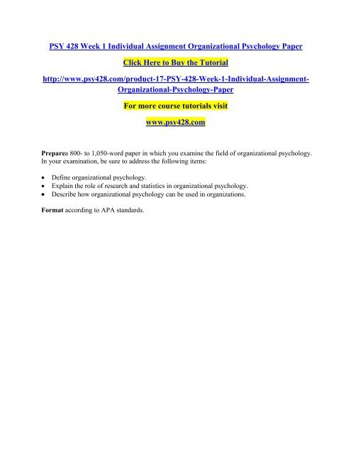 Psy 428 organizational psychology paper resume with gpa example