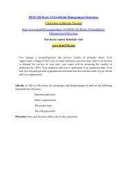 HSM 220 Week 3 CheckPoint Management Structures