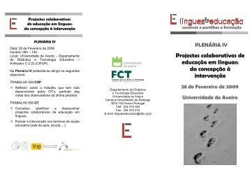Plenária IV_Folheto - Línguas & Educação - Universidade de Aveiro