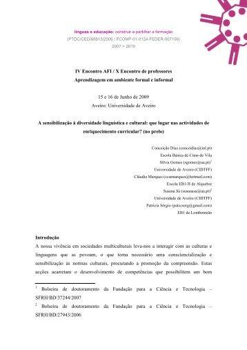 IV Encontro AFI - X Encontro de professores - Línguas & Educação