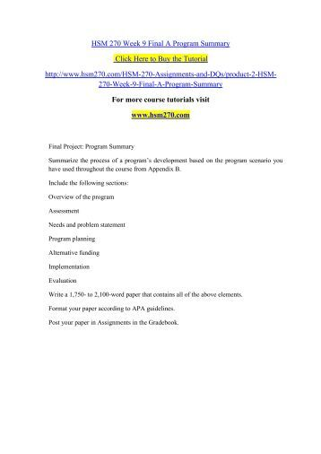 hsm 270 scenario evaluation plan Running head: program planning and evaluation paper 1 program planning and evaluation paper annette anderson hsm/270 july 6, 2014 nicole nightingale program planning.