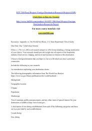 HTT 200 Final Project Foreign Destination Research Project (UOP)